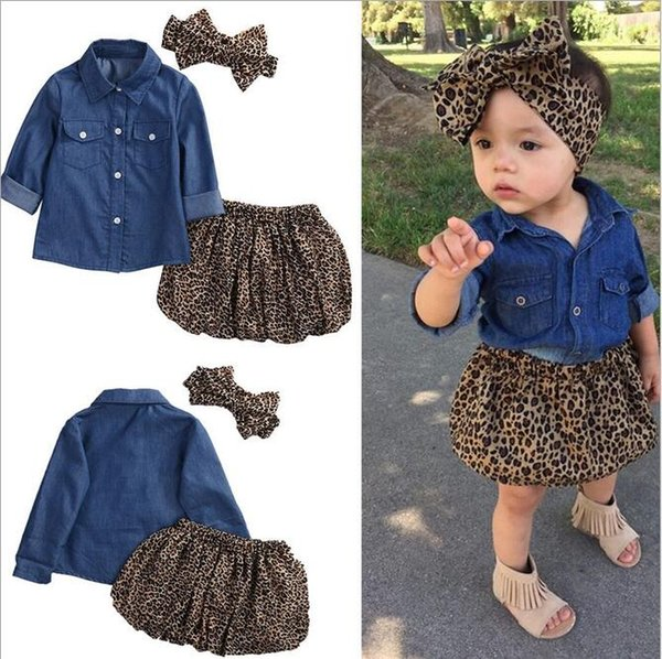 Baby Girls denim Leopard three pieces Set(cowboy shirt + skirt + leopard headdress) Cute Kids Long Sleeve Outfits sets Children Suits Cloth