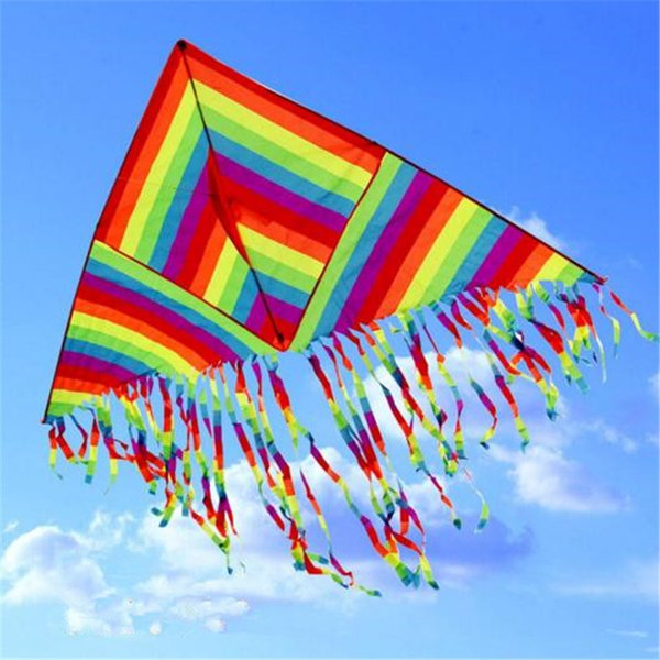 Rainbow Kite Summer Outdoor Toys Fun Sports Kite Children Triangle Color Kite Easy Fly Games Activities Kid Gift Fashion Activities Cartoon