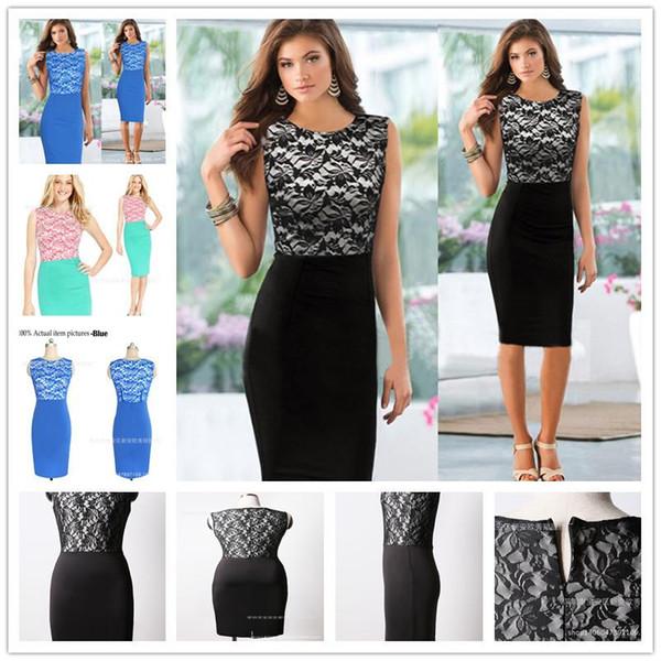 2017 Nuevas Mujeres Elegantes Vintage Contraste Colorblock Delgado Cinturón Patchwork Casual Wear To Work Oficina Vestido Lápiz Vestido