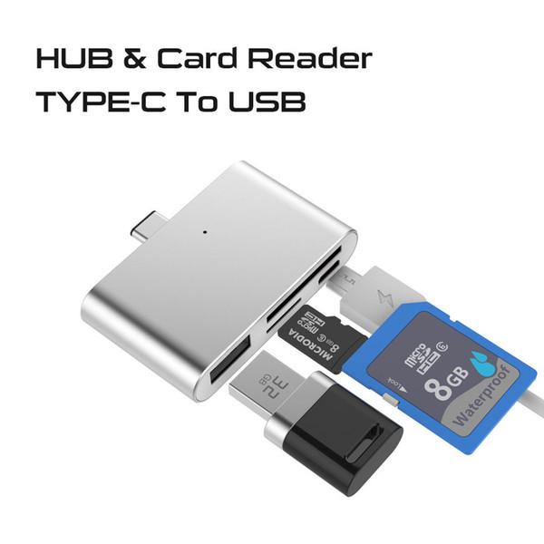 Adaptador de lector de tarjeta de memoria USB tipo C Adaptador USB Micro USB TF Tipo de tarjeta SD Hub con OTG Para Macbook air Pro Tablet