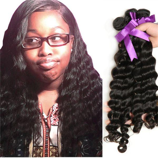 Halo Lady Loose Deep Wave Human Hair Weaves Bundles 10inch To 30inch