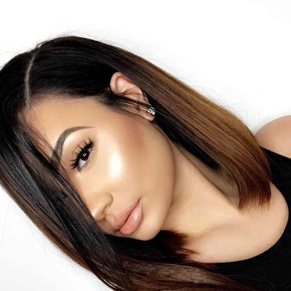 Full Lace Human Hair Wig Bob Wig Ombre Two Tone Pre-plucked Hairline Malaysian Virgin Hair With Baby Hair Lace Front Wig Bleached Knots