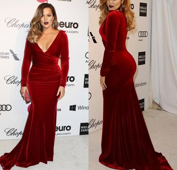 Khloe Kardashian 2017 Oscar Formal Evening Celebrity Gowns Sexy Wine Red Velvet Mermaid Long Sleeves Evening Dresses Sweep Train Prom Gowns