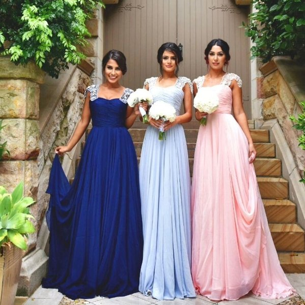 2017 New Elegant Long Bridesmaid Dresses Sweetheart Neck Beaded Cap Sleeve Ruched Formal Party Dress For Wedding Chiffon Pretty Prom Dresses
