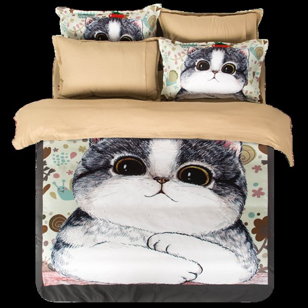 Fat Cat Animal Bedding Set Grey Duvet Cover Bed Sheet Sets Double Queen King Size 4pcs Bedding
