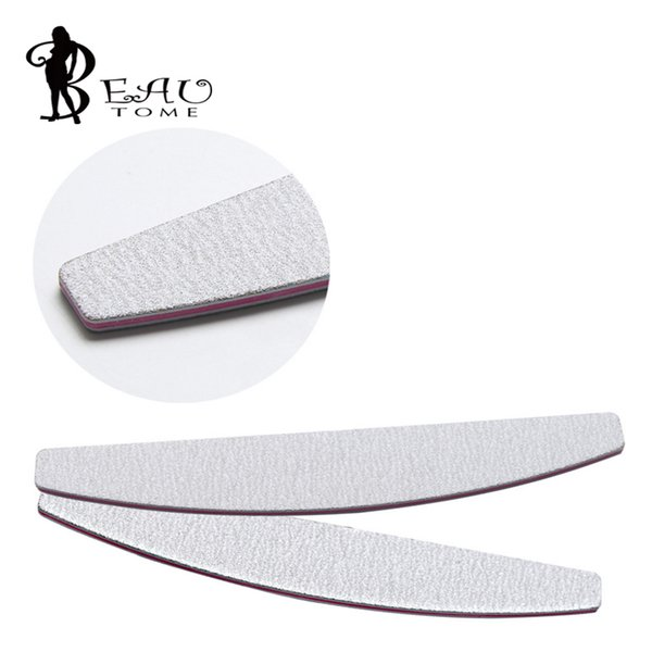 Wholesale- 1 x White Half Moon 100/180 Nail Art Sanding Files Buffer Block Manicure Pedicure Tools Sand Paper Nail File Styling Tools HS158