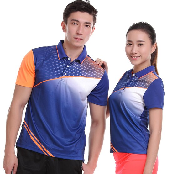 Sportswear sweat Quick Dry breathable badminton shirt , Women/Men table tennis clothes team game running training POLO T Shirts