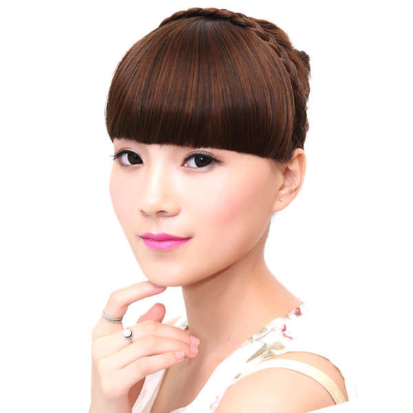 best selling high quality women's braided hair band on synthetic hair bang front neat Heat Resistant four colors 1pc lot drop shipping