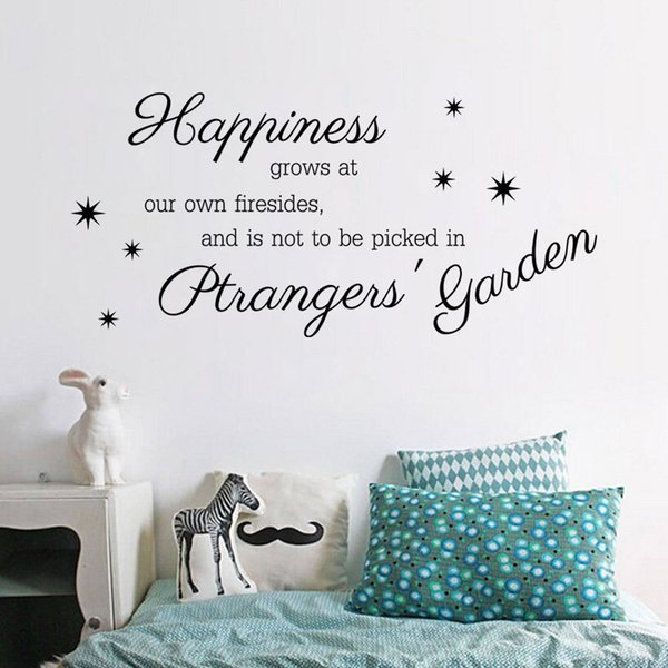 9271 Happiness Grows at Our Own Firesides Wall Stickers Happiness Quote Wall Decals For Family Room DIY Stars Decals Home Decorations