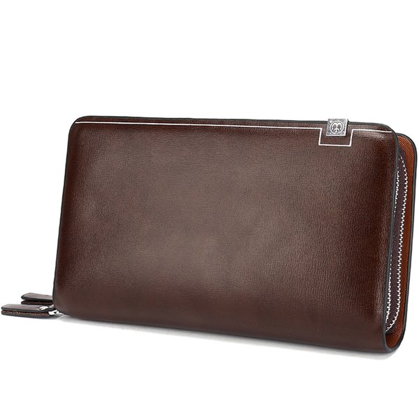 Luxury Wallets Double Zipper Leather Male Purse Business Men Long Wallet Designer Brand Mens Clutch Handy Bag carteira Masculina