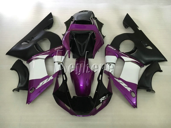 Kit de carenado de moto para Yamaha YZR R6 98 99 00 01 02 carenados negro púrpura conjunto YZFR6 1998-2002 HT08