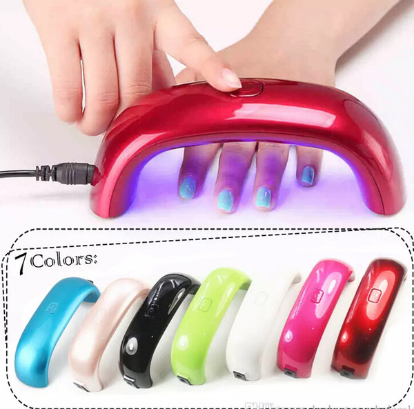 best selling Wholesale Nail Dryers 9W LED Mini Portable Curing Lamp Rainbow Shaped Machine for UV Gel Nail Polish Art Tools Mini Dryer