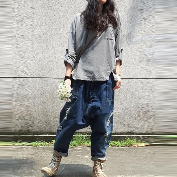 Vente en gros - Jeans Boyfriend pour les femmes Cross-Pants Distressd Jeans Ripped Loose Fit Souper Crotch Coton Denim Fashion Cargo Pants DD01