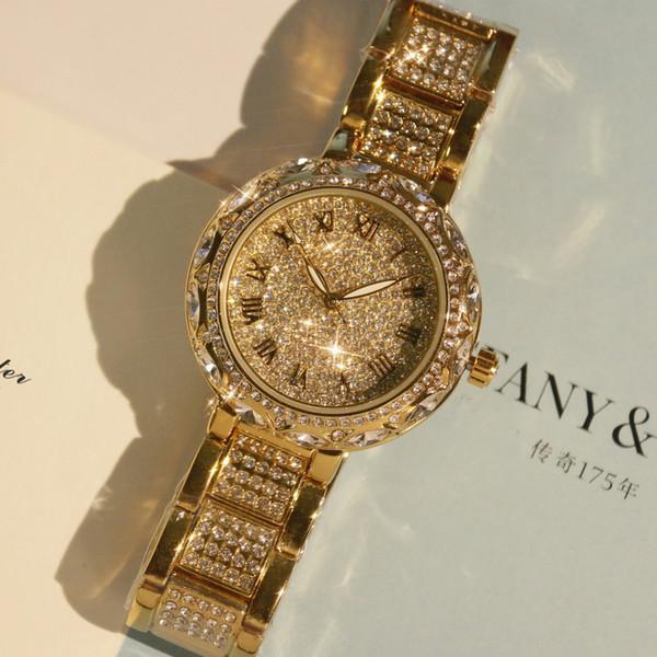 2017 Venda Quente! Top de Luxo Diamante Relógios Das Mulheres Completa Rhinestone Relógio De Pulso Dama De Cristal Vestido Relógios de Ouro Feminino Relógio de Quartzo