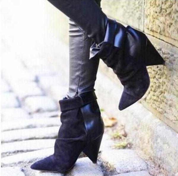 Daim En Cuir Femmes Hiver Automne Slip-on Pointu Bottines Bottines Sexy De Mode Spike Talons Bottes Courtes Lady Talons Hauts Chaussures