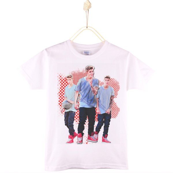 2017 New Arrival Children Clothes Kids T-shirt White Cotton Justin Bieber Boys T Shirts Girls Tops Baby Camiseta Free Shipping