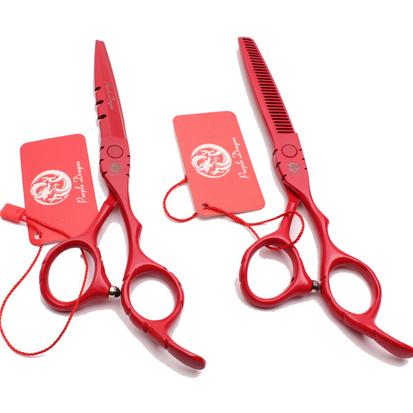 """Z1010 5.5"""" 16cm Japan Purple Dragon Red Professional Human Hair Scissors Barber's Hairdressing Scissors Cutting Thinning Shears Style Tools"""