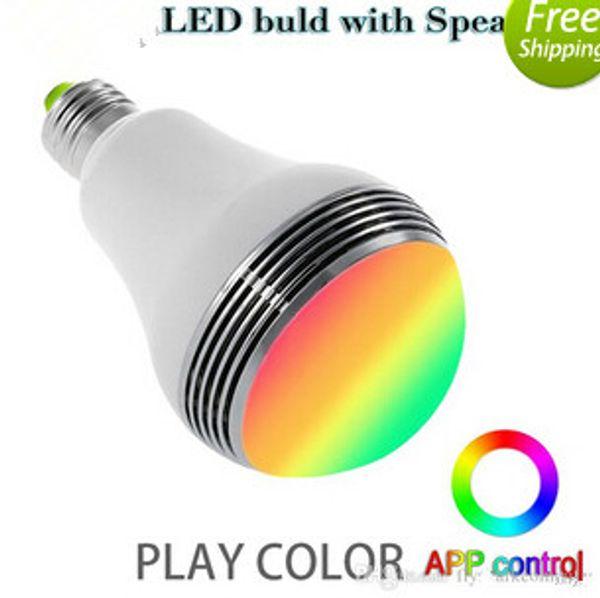 Alto-falante sem fio Bluetooth inteligente LED bulbo App controle de cor E27 5W Lâmpada LED Light com Mini Speaker Mais novo tipo
