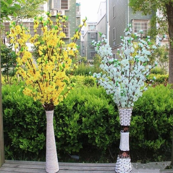 100Pcs Artificial Cherry Spring Plum Peach Blossom Branch Silk Flower Tree For Wedding Party Decoration white red yellow pink color