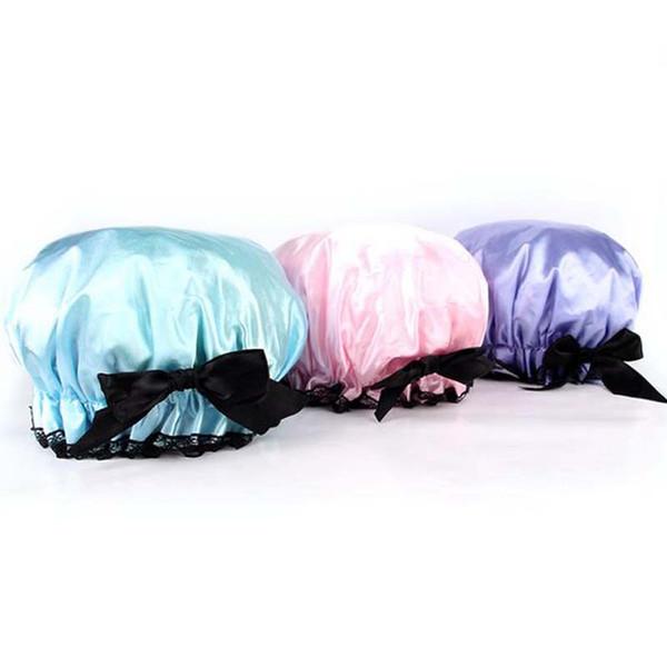 2017 new Women Waterproof Bowknot Bath Shower Cap Adjustable Shampoo Bath Shower Cap Lady Protect Household Accessories