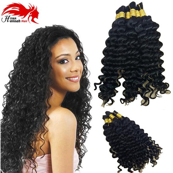 top popular Human Hair For Micro Braids Bulk Hair Deep Curly Brazilian braiding hair bulk for braiding bulk no attachment 2019