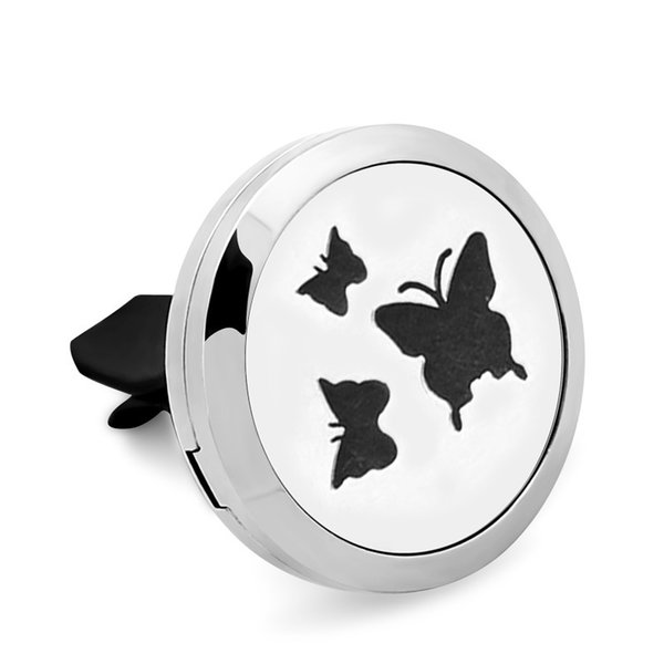 5PCS 3 Butterflies 316L Stainless Steel Car Perfume Locket For 30MM Essential Oil Diffuser With Free Pads