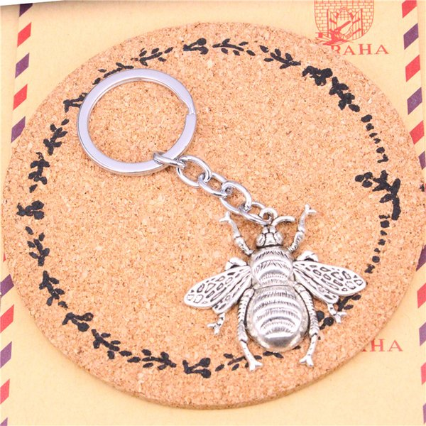 New Fashion Car Keychain Silver Color Metal Key Chains Accessory, Vintage hornet bee Key Rings