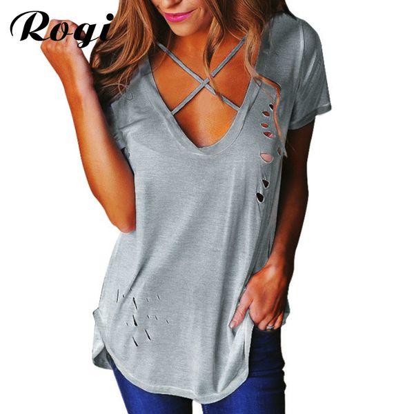 Toptan Satış - Rogi Seksi Delik Yaz T-Shirt Kadın 2017 Ön Çapraz V Boyun Ripped T Shirt Bandaj Gevşek Temel Tee Camisetas Mujer Ropa Tops