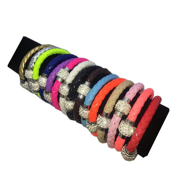 Wholesale Hot PU Leather Magnet Merge Bracelet & Disco Ball Crystal Magnetic Clasp Bracelet Factory Wholesale Free Shipping