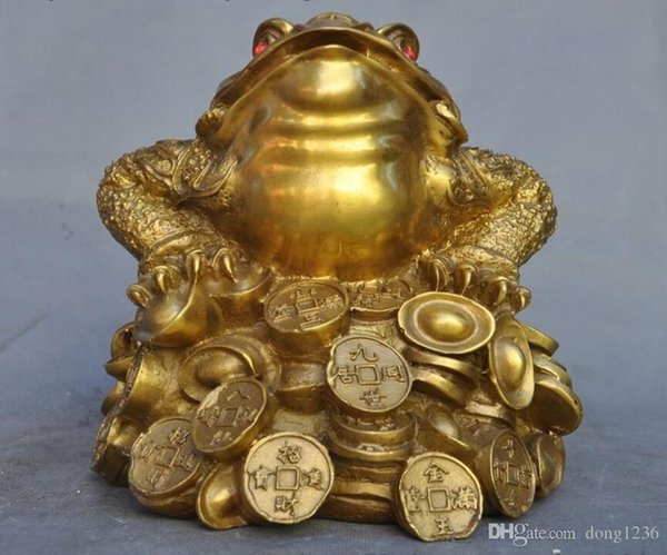 China feng shui brass wealth Yuanbao money Golden Toad Spittor bufo lucky statue