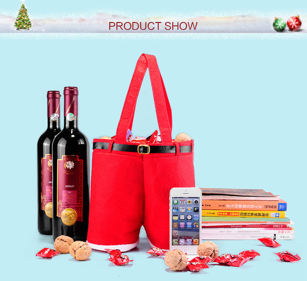 best selling 1 Pcs Merry Christmas Gift Treat Candy Wine Bottle Bag Santa Claus Suspender Pants Trousers Decor Christmas Gift Bags