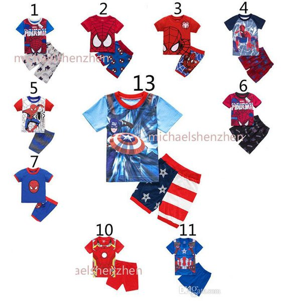 Garçons spiderman Pyjamas costumes 13 Enfants de conception Avengers Captain America Iron Man T-shirt à manches courtes + shorts 2pcs costume B001