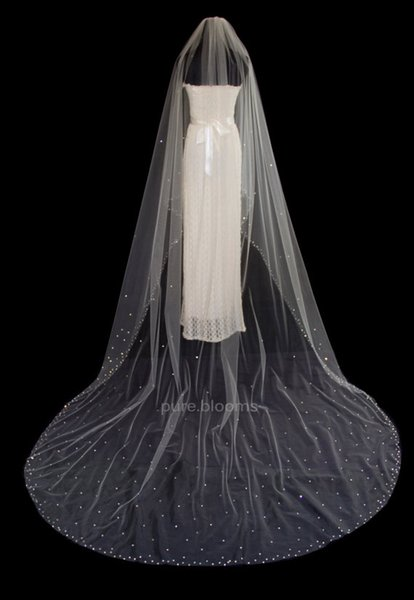 New Arrival 3m One layer Cathedral Length White Ivory Wedding Veil Crystal Bridal Veils With Comb