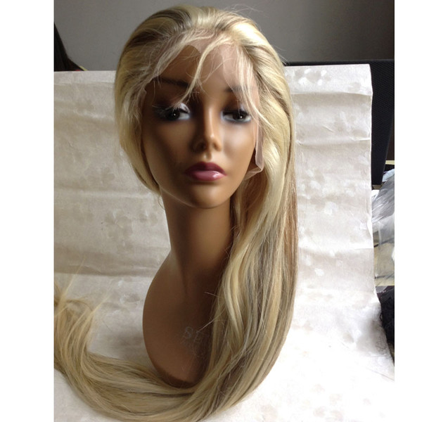 highlighted glueless wigs #613/6/27 blonde full lace human hair wigs bleached knots silk straight style with baby hair