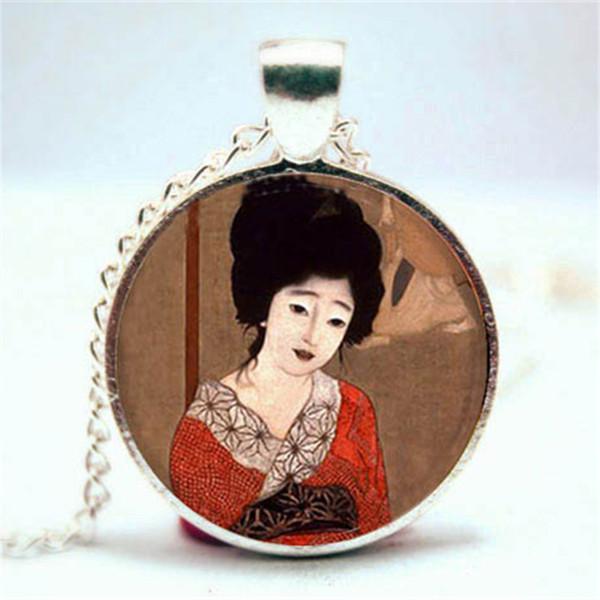 10pcs Geisha Girl Necklace, Asian Japanese Theme Joyería collar de cristal Cabochon