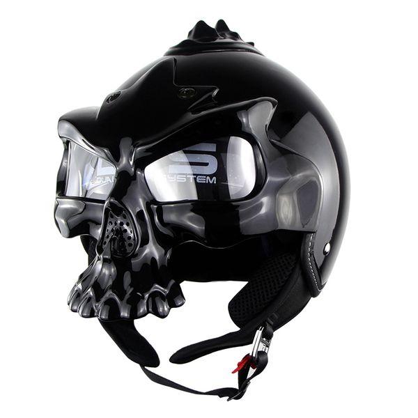 Crânio da motocicleta capacete lente dupla Harley capacete metade do rosto Moto Capacetes Casco retro Casque Soman Marca SM689