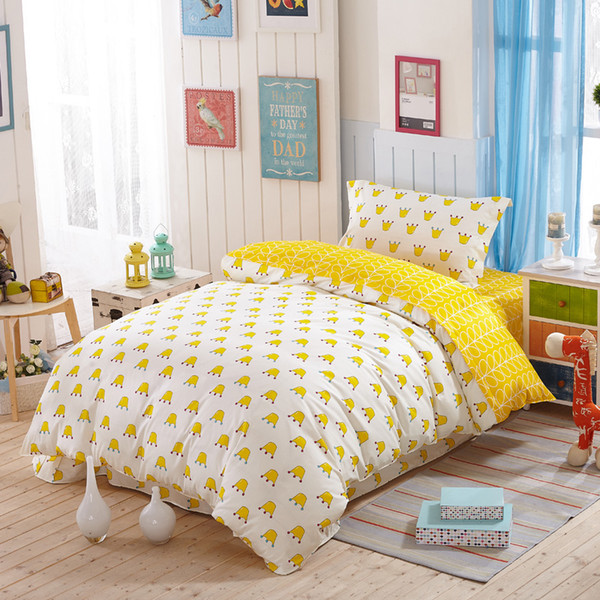 100 cartoon kids crown Yellow bedding sets/kids Blue twin Single Size quilt cover flat sheet and pillowcase