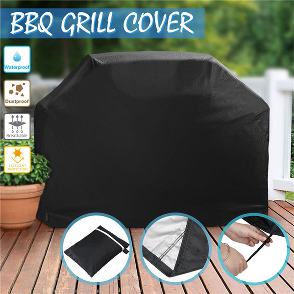 Wholesale- 1x Black Durable Waterproof Polyester Materia Anti UV/Waterproof/Anti-dust Gas/Electric Barbecue Grill BBQ Cover