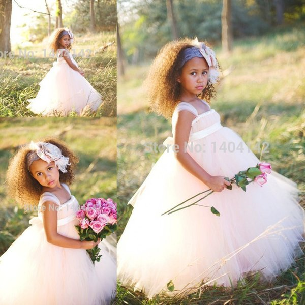 Tulle with Bow Flower Girl Dresses Party Gowns For Little Child Communion Dresses Girls Pageant Dresses Cheap Sale