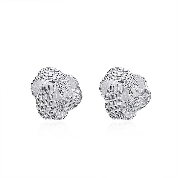 best selling Graceful 925 Silver Plated Jewelry Delicate Knot Women's Stud Fashion Earrings Party Lovely Earrings Free Shipping