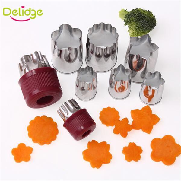 Delidge 8 teile / satz Gemüse Obst Cutter Edelstahl Blume Sternform Obst Slicer Form Kuchen Cookie Keks Presse