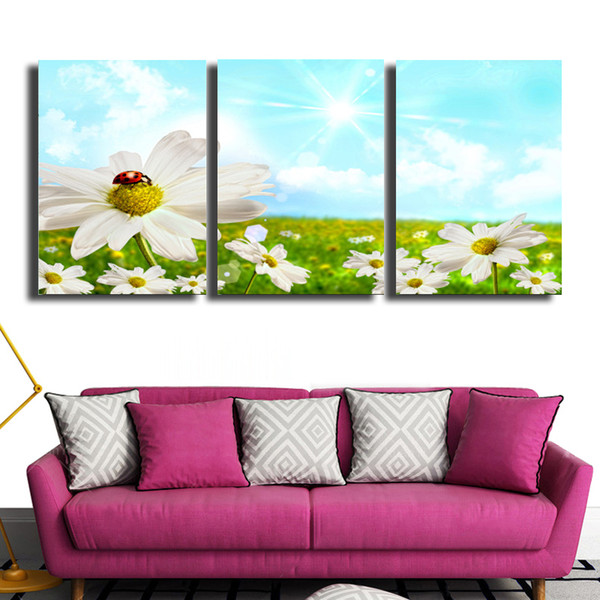 3 Pcs/Set spring Decorative Art Picture Beautiful Snow House Sun Mountain Painting On Canvas For Room Home Decor Wall Paintings #99
