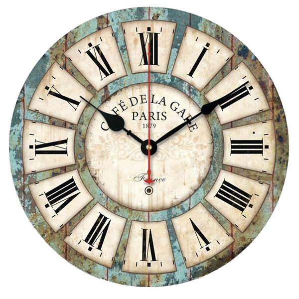 best selling Wholesale- New European Style Vintage Creative Round Wood Wall Clock Quartz Bracket Clockorologio parete Smile