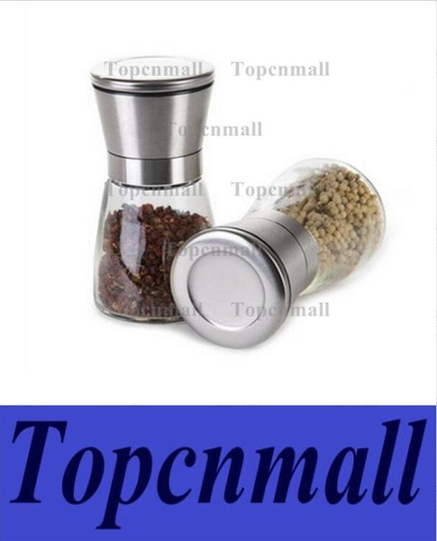 top popular Salt and Pepper Grinder Stainless Steel Glass Body Spice Mill Adjustable Ceramic Rotor Practical Kitchen Accessories TPML-1032 2021