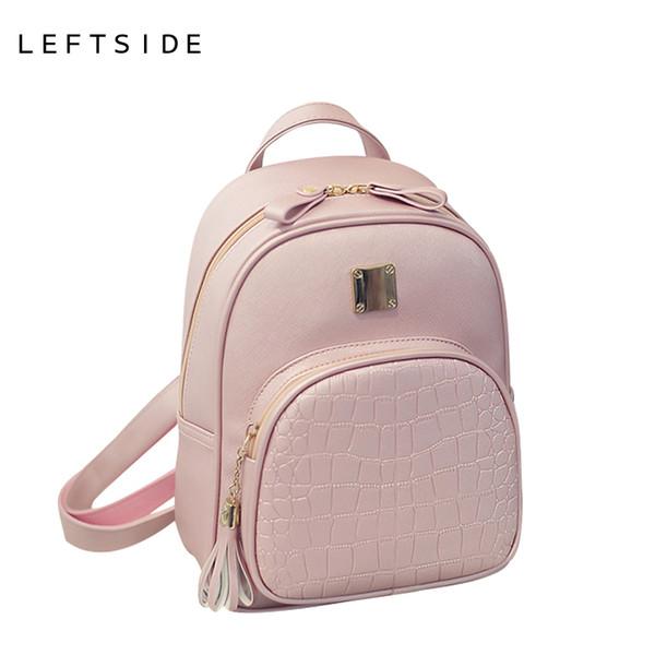 Wholesale- LEFTSIDE 2016 New Korean Backpacks Fashion PU Leather Shoulder  Bag Crocodile Pattern Small Backpack Embossed Leisure Bags de4a209502955