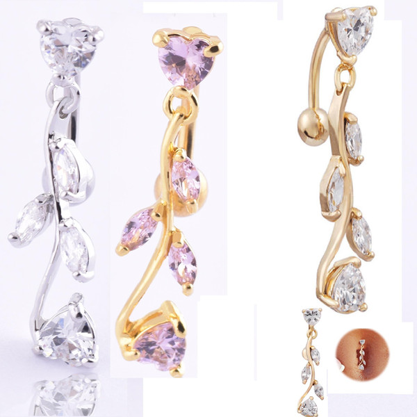 Luxury Cubic Zirconia Women Drop Belly Button K Gold Plated Fashion Body Jewelry Sexy Navel Rings Body Piercing Jewelry