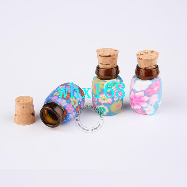50pcs/lot Lovely 0.5ml Mini Glass Cork Bottle + Flower Desigh Polymer Clay Decorated 0.5 gram Sample Display Jar Mixed Colors