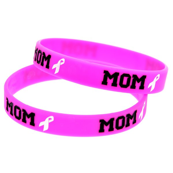 Wholesale 100PCS/Lot Pink Bracelet Mom & Ribbon Ink Filled Logo Fashion Silicone Rubber Wristband Promotion Gift