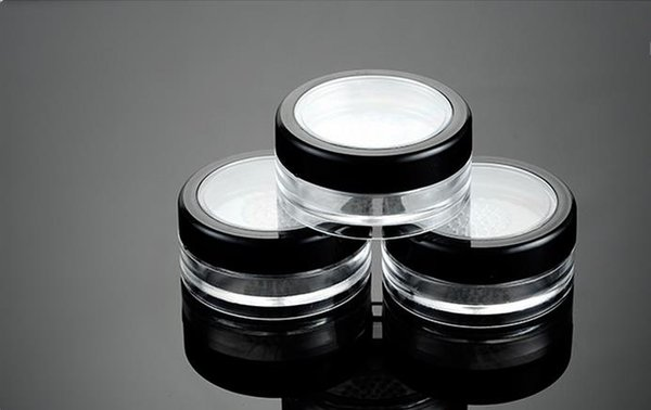 10g Black Clear Cap Loose Powder Compact With The Grid & Lid PP Powder Jar Packing Container Empty Powdery Cake Box