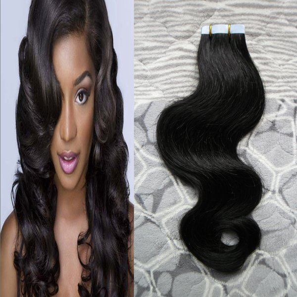 Wholesale- 8A Jet Black Hair ON Ribbons OF Adhesive PU Skin Weft Seamless Hair Extensions 50g Body Wave 20pcs Full Shine Extensions Human